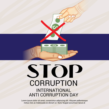 International Anti Corruption Day. 向量圖像