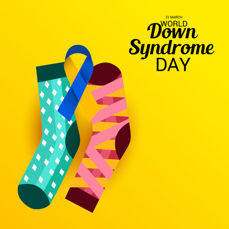 World Down Syndrome Day on yellow background, vector illustration.
