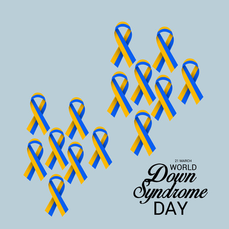 World Down Syndrome Day with ribbons on gray background. Illustration