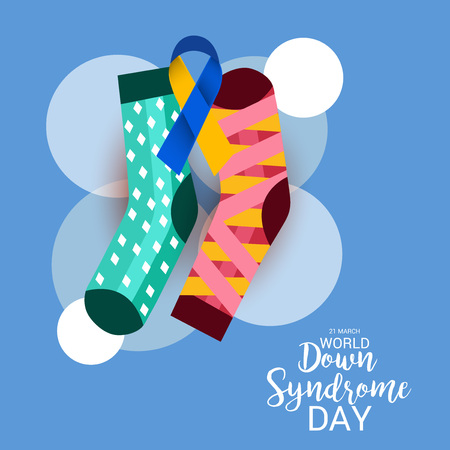 World Down Syndrome Day with sock illustration on blue background.