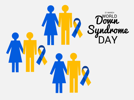 World Down Syndrome Day with child and ribbon illustration.