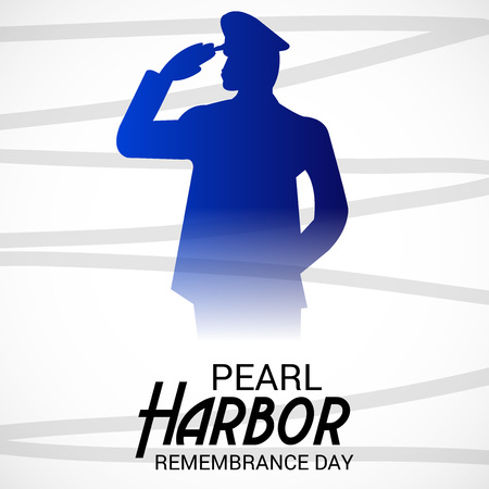 Pearl Harbor Remembrance Day with soldier saluting. Vectores