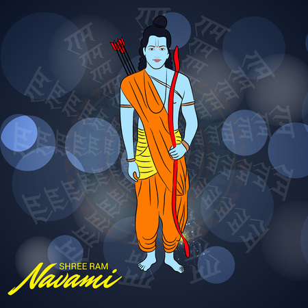 Happy Ram Navami poster with man in costume on blue background. Vector illustration. Vectores