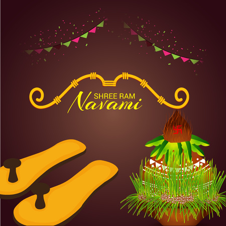 Happy Ram Navami poster with slippers, buntings Vector illustration.