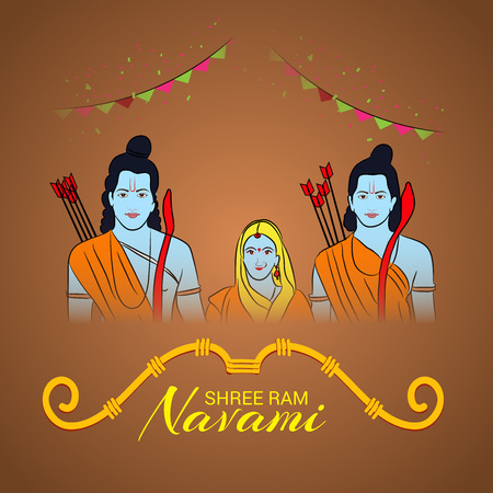 Happy Ram Navami poster with people in costume and buntings on color background. Vector illustration. Illustration