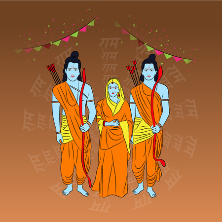 Happy Ram Navami poster with people in costume and buntings on color background. Vector illustration. Vectores