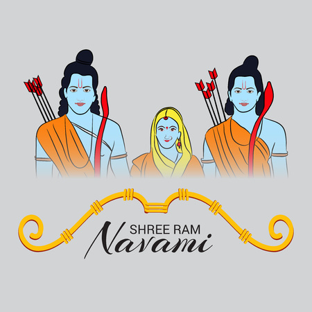 Happy Ram Navami poster with people in costume  on gray background. Vector illustration.
