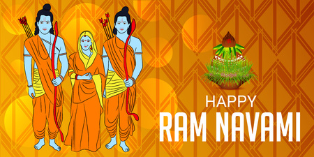Happy Ram Navami banner with people in costume on color background. Vector illustration.