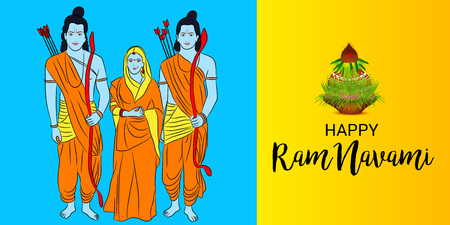 Happy Ram Navami banner with people in costume on blue and yellow background. Vector illustration. Illustration