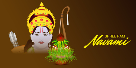 Happy Ram Navami banner with woman and decor on dark background. Vector illustration. Ilustração