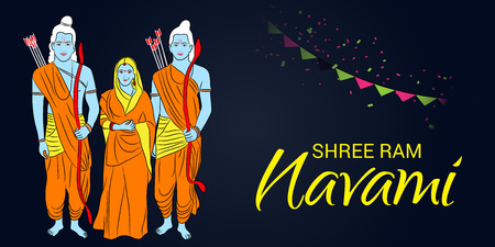 Happy Ram Navami banner with people in costume and buntings on dark background. Vector illustration.