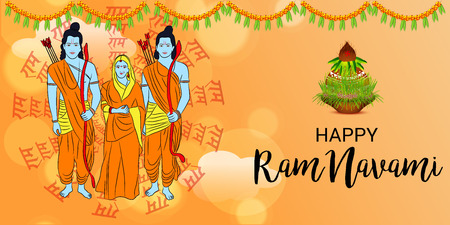 Happy Ram Navami banner with people in costume on orange background. Vector illustration. Vectores
