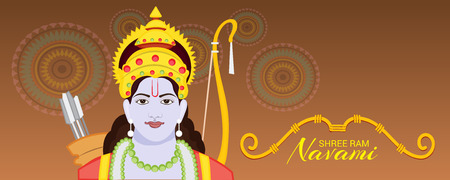 Happy Ram Navami banner with woman on color background. Vector illustration.