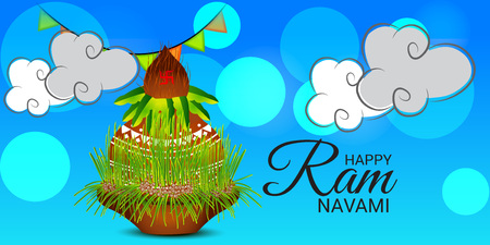 Happy Ram Navami banner with clouds and buntings on blue background. Vector illustration. Illustration