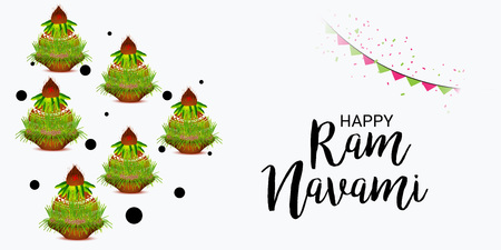 Happy Ram Navami  banner with buntings on light background. Vector illustration.