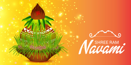 Happy Ram Navami  banner   on color background. Vector illustration.