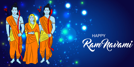 Happy Ram Navami  banner with deities on color background. Vector illustration. Illustration