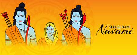 Happy Ram Navami banner with deities on color background. Vector illustration.