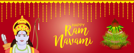 Happy Ram Navami banner with deity on red background. Vector illustration. Ilustração
