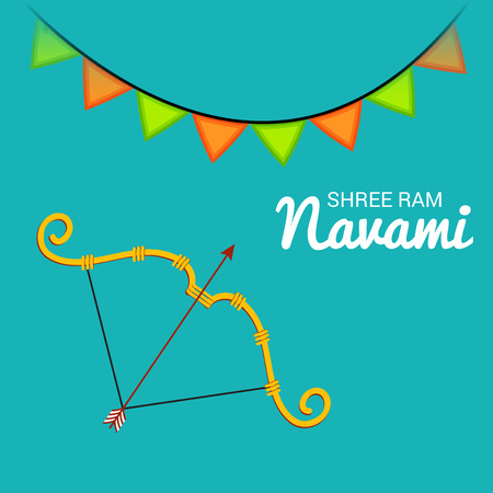 Happy Ram Navami banner with buntings and bow and arrow on green background. Vector illustration.