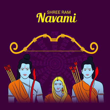 Happy Ram Navami banner with  deity on color background. Vector illustration. Ilustrace