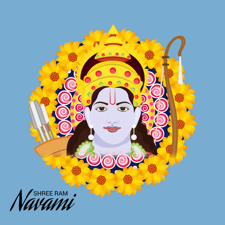 Happy Ram Navami banner with  deity on color background. Vector illustration. Vectores