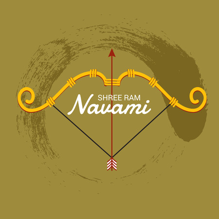 Happy Ram Navami banner with bow and arrow on color background. Vector illustration.