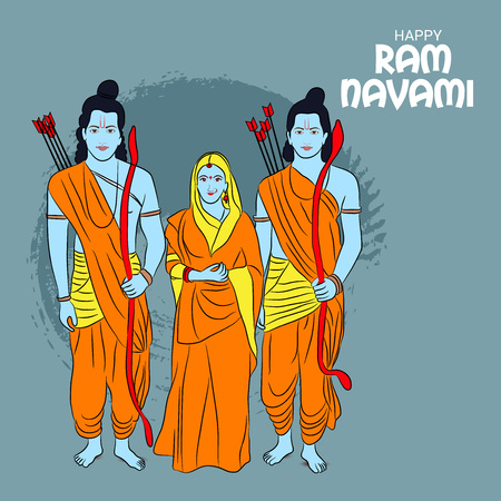 Happy Ram Navami banner with  deity on color background. Vector illustration. Illustration