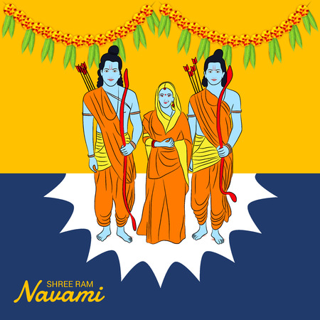 Happy Ram Navami banner with buntings and deity on color background. Vector illustration. Foto de archivo - 97459258