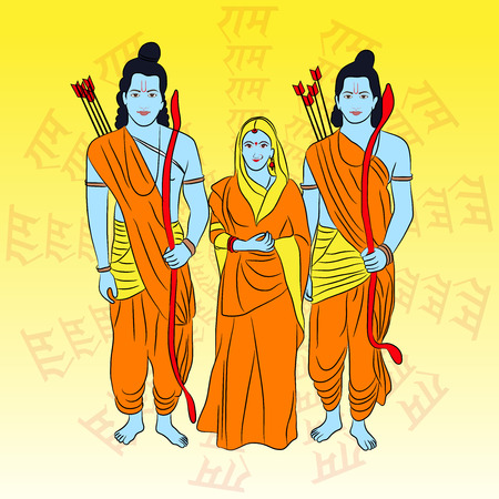 Happy Ram Navami banner with  deity on color background. Vector illustration. 일러스트