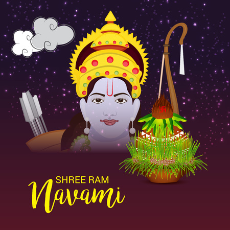 Happy Ram Navami banner with  deity on color background. Vector illustration. Ilustração
