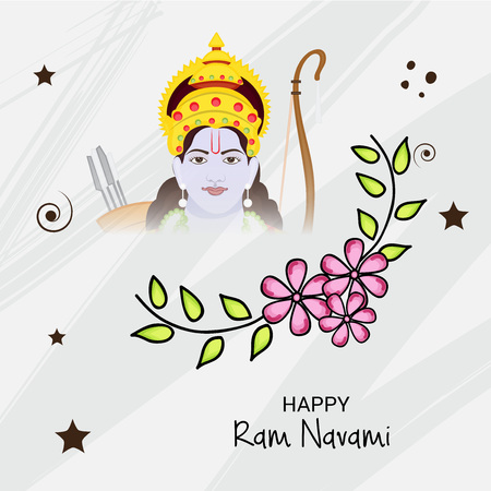 Happy Ram Navami banner with   deity on color background. Vector illustration.