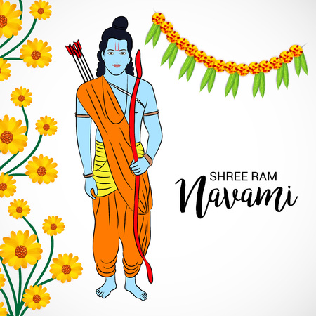 Happy Ram Navami banner with buntings and deity on color background. Vector illustration.