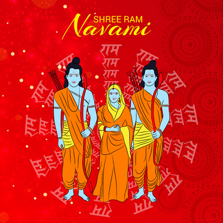 Happy Ram Navami banner with   deity on color background. Vector illustration. Foto de archivo - 97459484