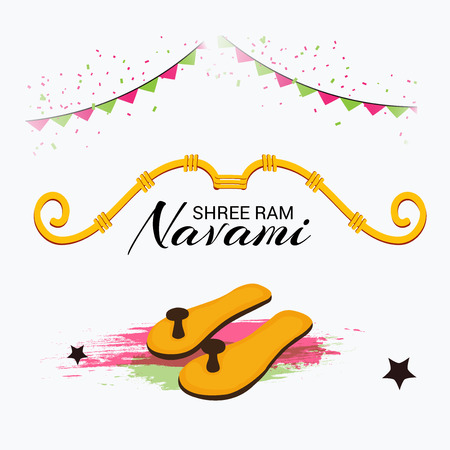 Happy Ram Navami banner with buntings on color background. Vector illustration.