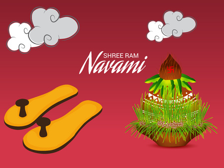 Happy Ram Navami banner  color background. Vector illustration.