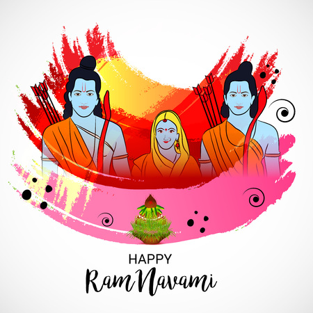 Happy Ram Navami banner with  deity on color background. Vector illustration. Foto de archivo - 97470151