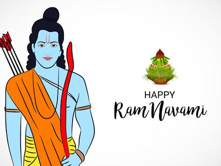 Happy Ram Navami banner with  deity on color background. Vector illustration. Illustration