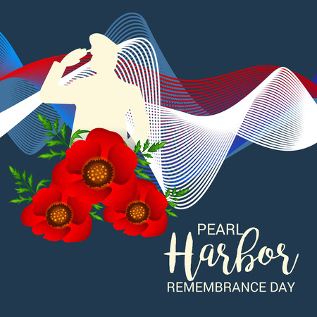 Pearl Harbor Remembrance Day poster with flowers and soldier silhouette on dark background.