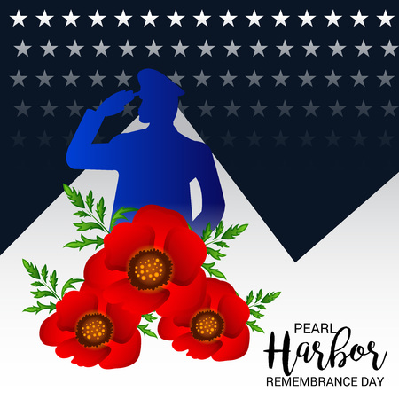 Pearl Harbor Remembrance Day poster with flowers and soldier silhouette on color background. Vector illustration.