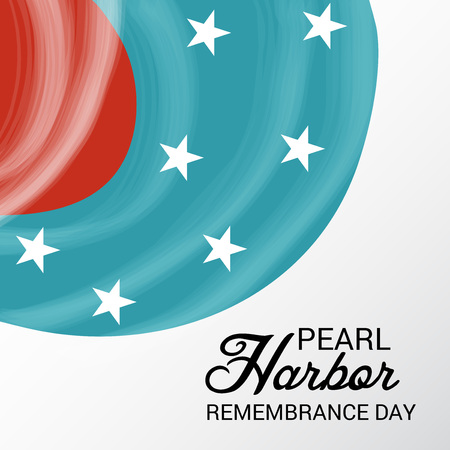 Pearl Harbor Remembrance Day poster with stars on red, white and blue background. Vector illustration.