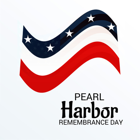 Pearl Harbor Remembrance Day posters with stars on red, white and blue banner. Vector illustration.