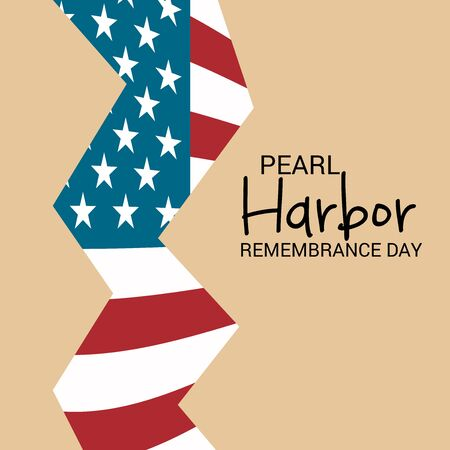 Pearl Harbor Remembrance Day poster with USA flag on color background. Vector illustration.