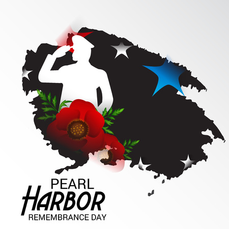 Pearl Harbor Remembrance Day poster with stars, flowers, soldier silhouette on light background. Vector illustration.