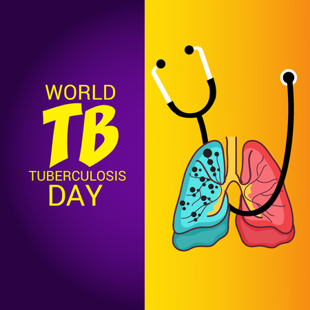 World Tuberculosis Day with lungs and stethoscope design.
