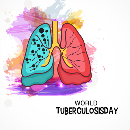 World Tuberculosis Day with colorful lungs design.  イラスト・ベクター素材