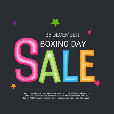 Boxing Day Sale text with colorful stars.