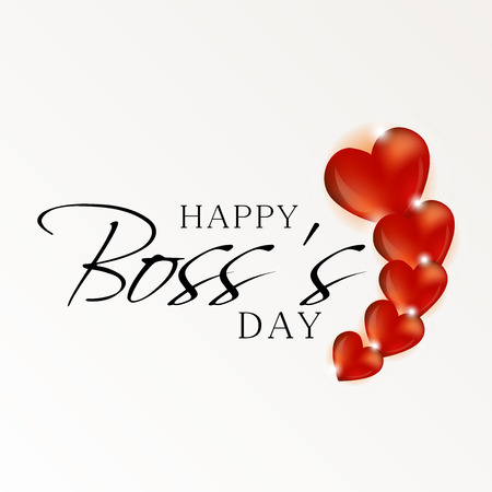 Happy Bosss Day with hearts illustration on light background.