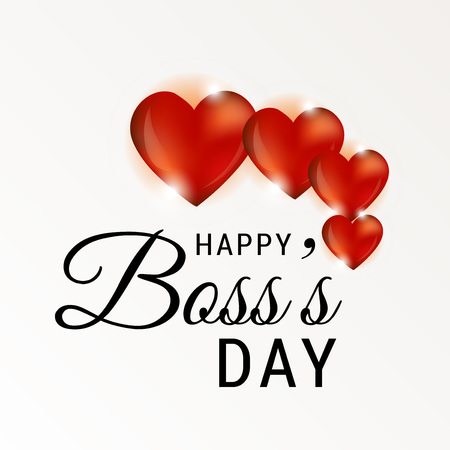 Happy Bosss Day with heart illustration on light background.