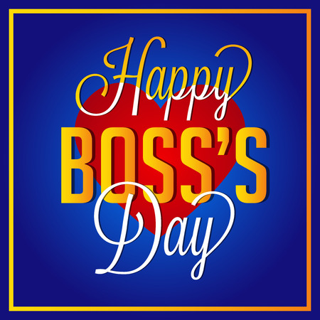 Happy Boss's Day with heart illustration on light background.